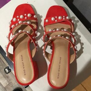 Red suede pearl shoes!! So cute!